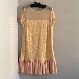 Asos, size 8, blush lace and ruffle dress
